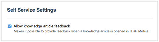 Allow knowledge article feedback in ITRP