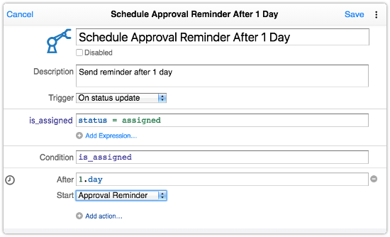 Automation rule that defines delay