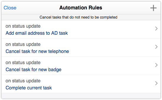 Example of automation rules defined for a task template