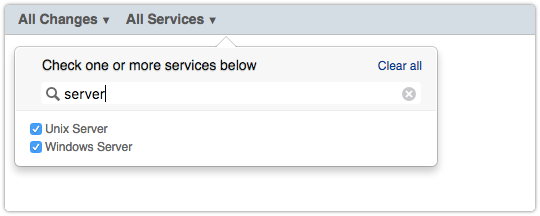 Search box to filter services