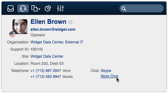 Person record with chat links in the ITRP Service Desk console