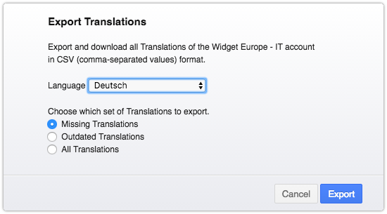 Exporting missing translations