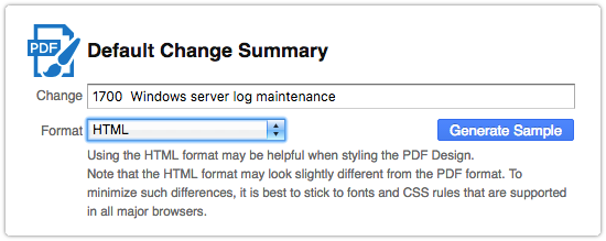 Generating a Change Summary sample in HTML format