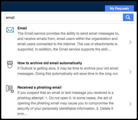 New request icon in Self Service search results