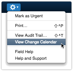 Open the ITRP Change Calendar from task