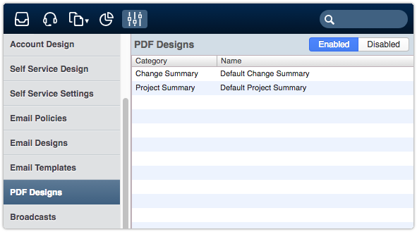 PDF Designs section of the Settings console