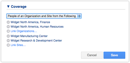 SLA Coverage Option - People of an Organization and Site from the Following
