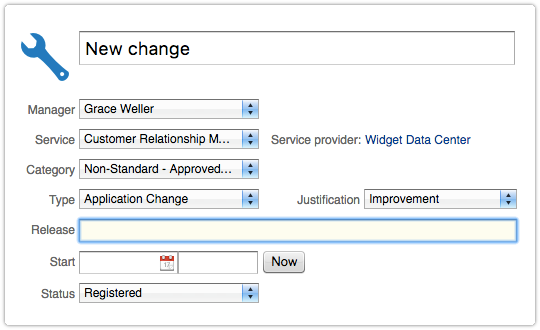 Release field of the ITRP Change form