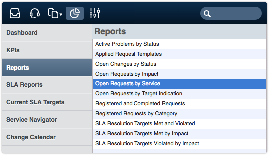 Reports section of the ITRP Analytics console