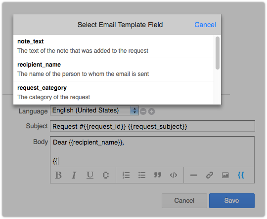 Adding a field to an email template