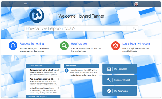 Self Service homepage design example