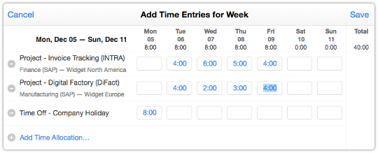 Weekly time entry form in ITRP Self Service