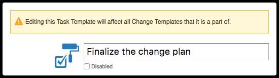 Warning displayed in task template